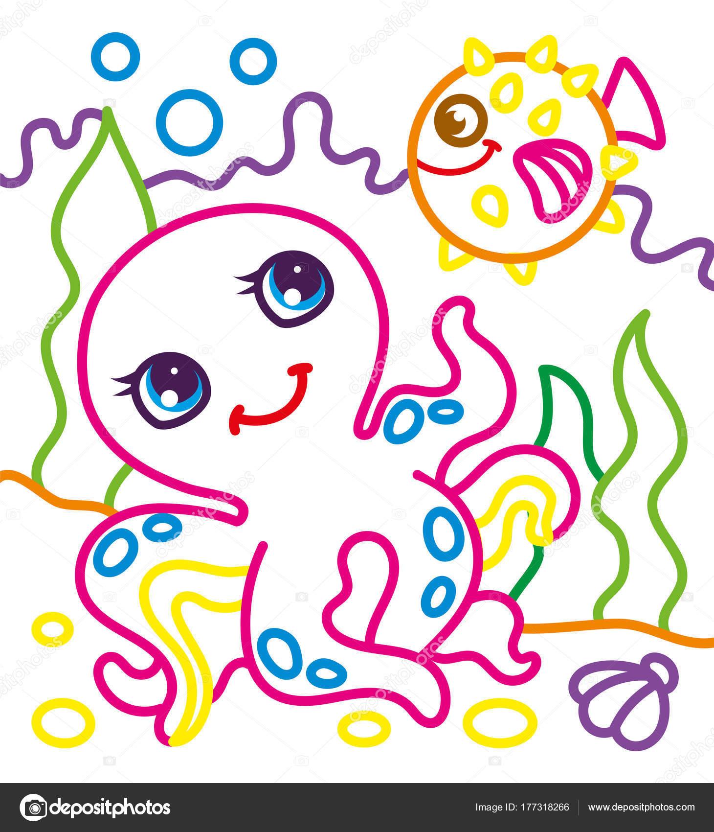 Kleurplaat Boek Van Octopus Met Vis Stockvector C Ingasmk 177318266