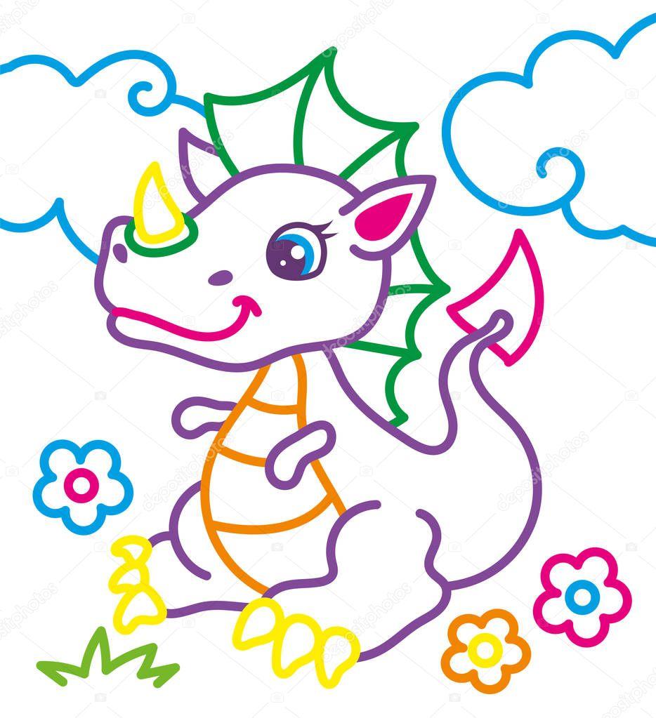 Раскраска милый дракон — Векторное изображение © ingasmk ...