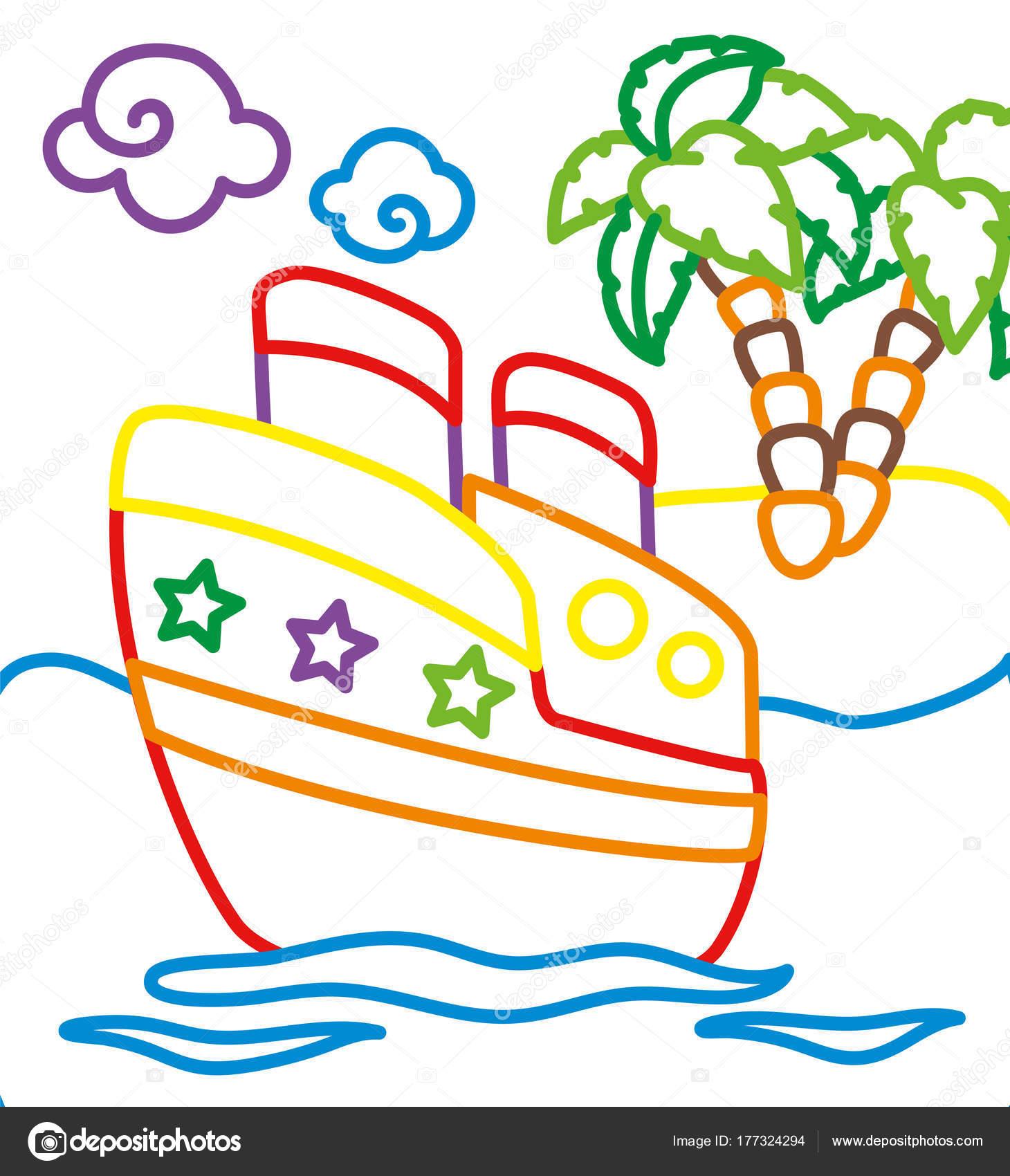 Libro para colorear de barco cerca de la isla — Archivo Imágenes ...