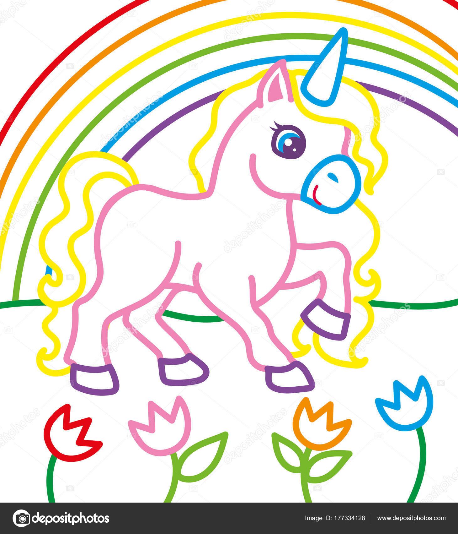 Libro para colorear de unicornio cerca del arco iris — Archivo ...
