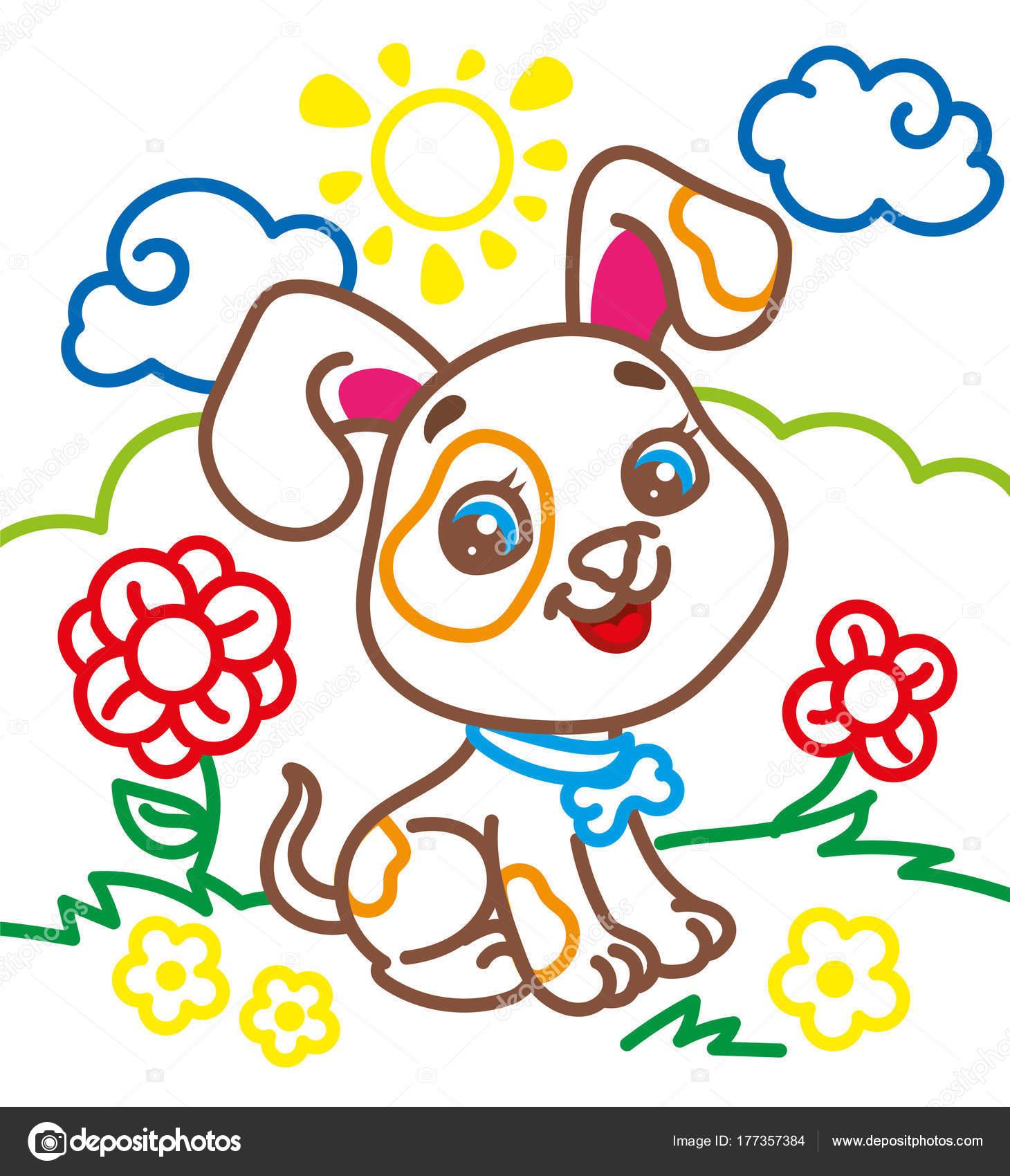 Libro para colorear del Lindo perrito — Archivo Imágenes Vectoriales ...