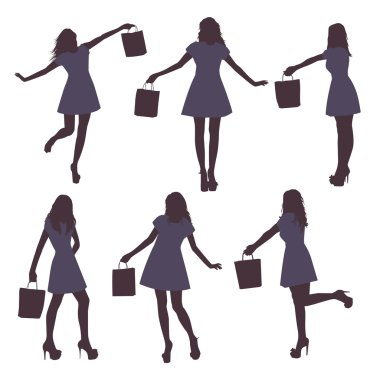 Set of black female silhouettes with bag on white background, vector illustration clip art vector