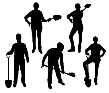 silhouettes of people with shovel