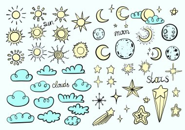 Weather Symbols on blue background clip art vector