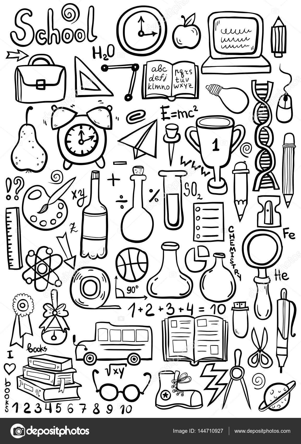 Imágenes Ciencias Fisica 2 Para Colorear Conjunto De Objetos De