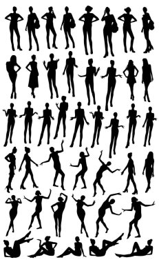 Posing woman silhouettes vector illustration clip art vector