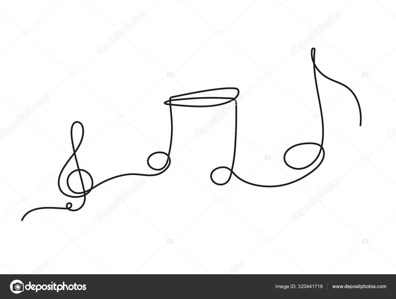 One Line Drawing Music Notes Isolated Vector Object Continuous Simplicity Stock Vector C Annmaneeta 320441718