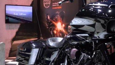 28 March 2017. Bangkok, Thailand. Presenter with HARLEYDAVIDSON motorcycle at the 38th Bangkok International Auto Show at the Impact Center.