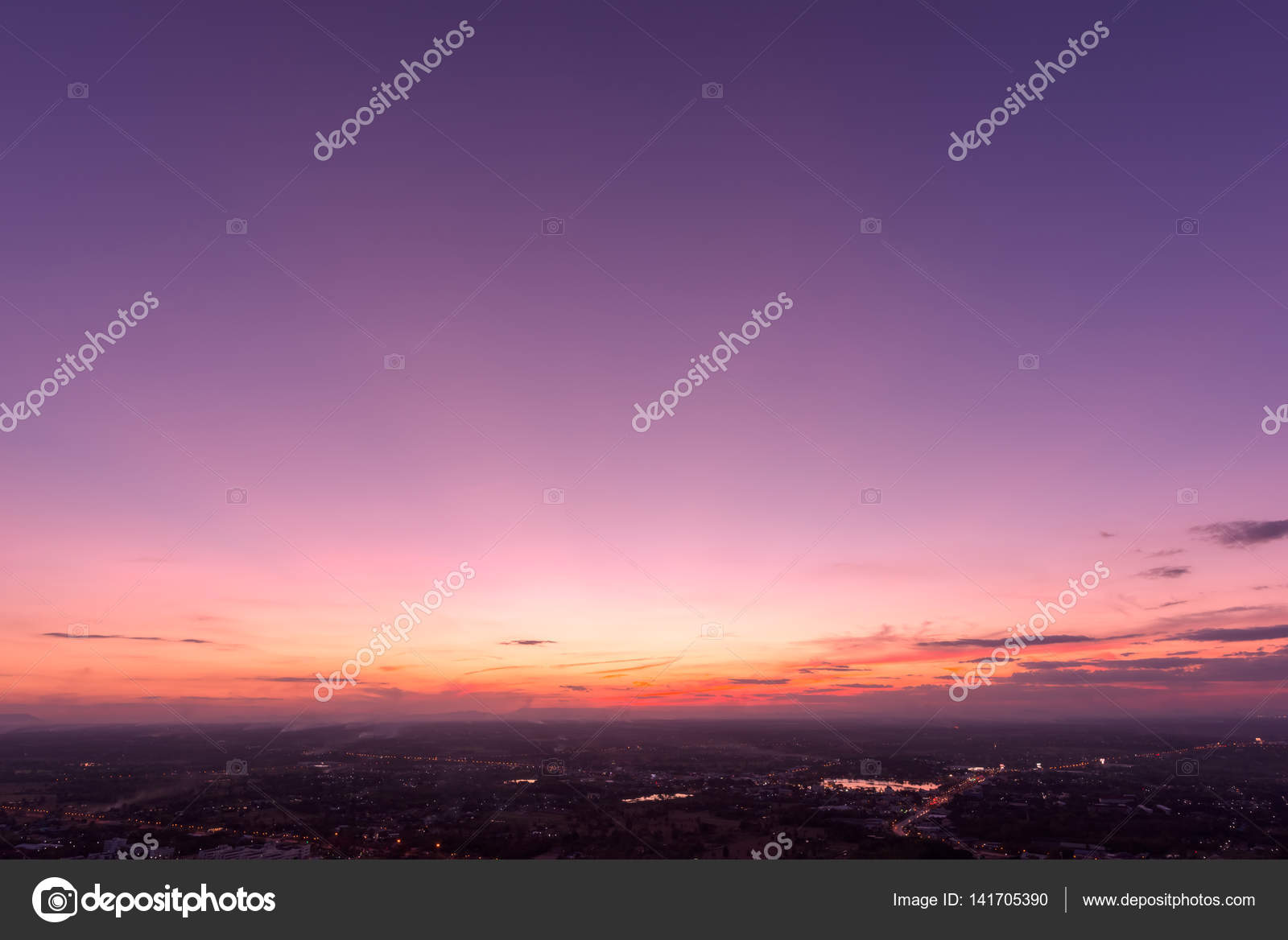 Beautiful Sunset On City With The Colors Of Rose Quartz And Serenity