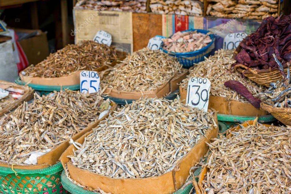 Dried fish in market at Sri Lanka.