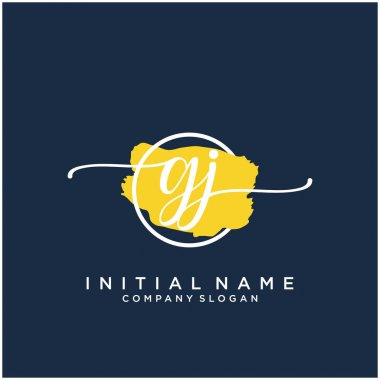 GJ Initial handwriting logo design with brush circle. Logo for fashion,photography, wedding, beauty, business.