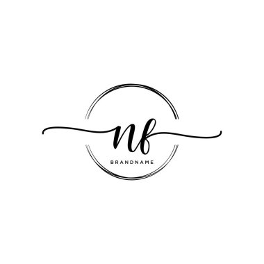 NF Initial handwriting logo with circle template vector.