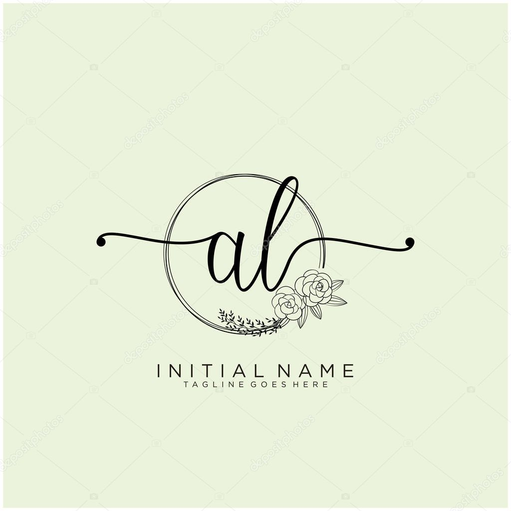 Al Letter Initial Beauty Monogram And Elegant Logo Design Handwriting Logo Of Initial Signature Wedding Fashion Floral And Botanical With Creative Template Design Premium Vector In Adobe Illustrator Ai Ai