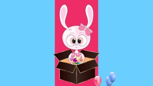 Všechno nejlepší. animované blahopřání. zajíc v dárkové krabici.