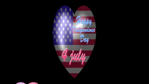 us independence day. animated us flag in the shape of a heart.