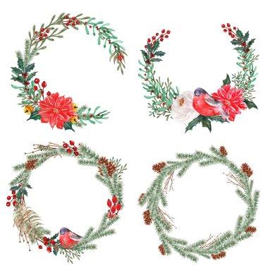 set of watercolor winter floral wreath