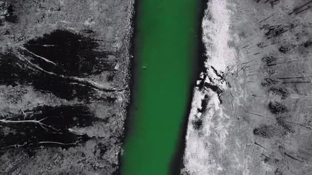 Overhead drone shot revolves over a green mountain river and white snowy shores with pine trees (British Columbia, Canada)