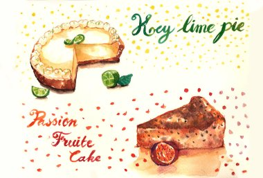Key lime pie and passion fruit cakes watercolor illustration