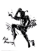 Photo Thai kick boxing martial art illustration with chinese brush strong stroke
