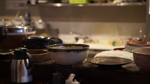 Normal Japanese local lunch set style restaurant bar with open kitchen in Tokyo
