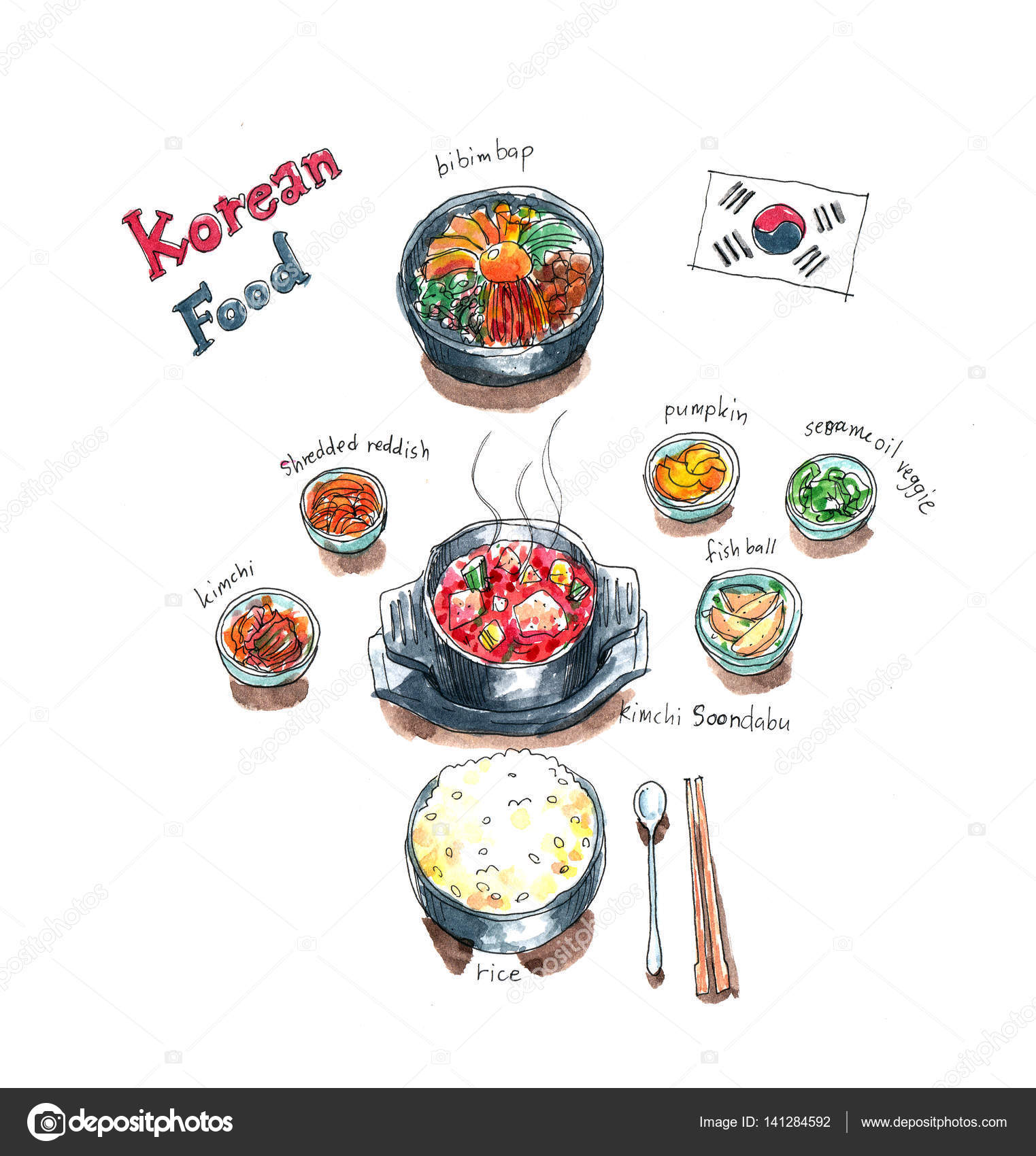 Korean Food Watercolor Korean Food Set Doodle Kimchi Soup Bibimbap And Side Dishes Watercolor Painting Stock Photo C Glowonconcept 141284592