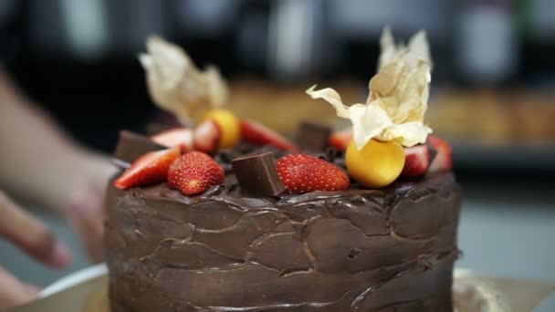 Beautiful Rustic Dark Chocolate Pound Cake With Strawberry And Cape