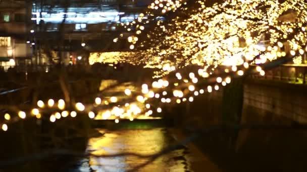 Krásný zlatý osvětlení vánoční světlo v Tokiu, Japonsko. Světlo odráží v Nakameguro kanál