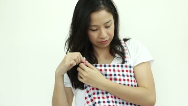 Perfect Asian Woman Wearing Apron Ready Housework U2014 Stock Video