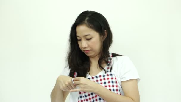 Attractive Asian Woman Wearing Apron Ready For Houseworku2013 Stock Footage