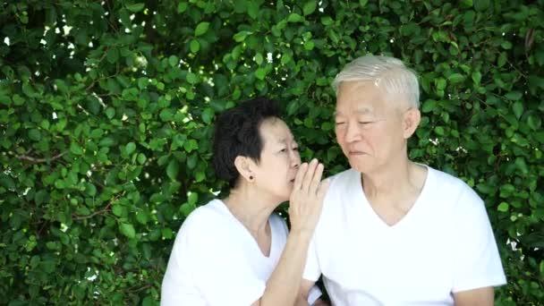 Asijské starší pár šeptat tajemství, smysl pro humor se zeleným pozadím