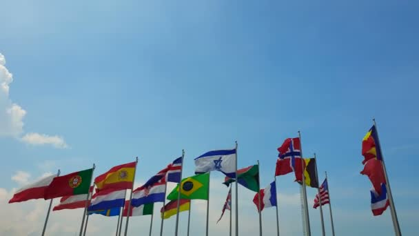 International colorful multi flags sway in outdoor wind abstract of world collaboration