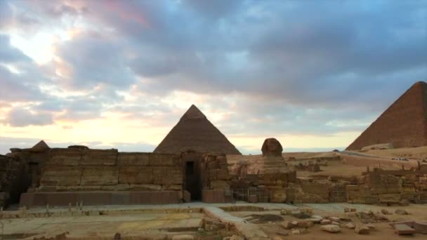 Sphinx and Great pyramid of Egypt panorama video view