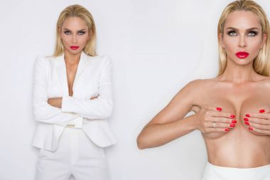 Stunning blonde woman holds in her hands silicone implants, but has a natural breasts