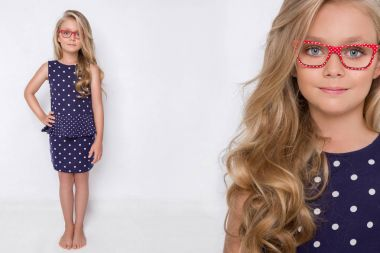Portrait beauty blonde female model with amazing long  hair and perfect face clean young skin care posing on a white background in elegant eyeglasses