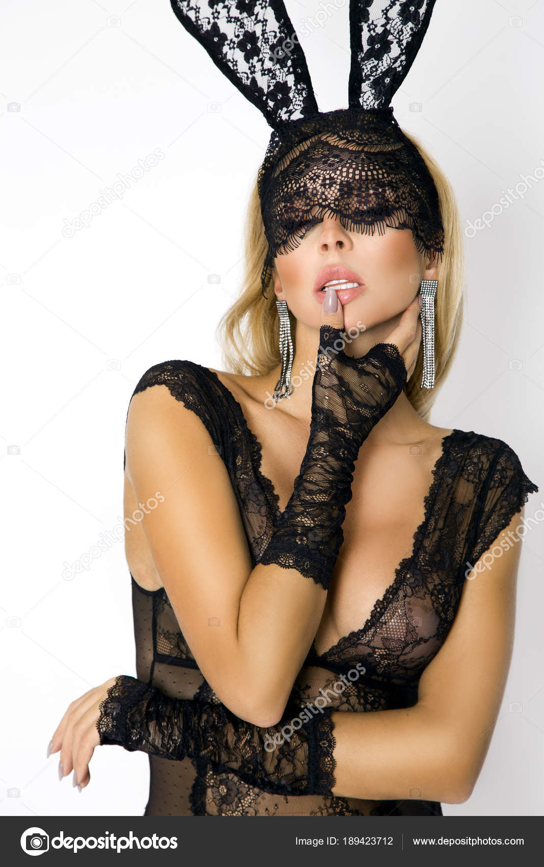 75e458bffbb Beautiful Sexy Blonde Woman Elegant Lingerie Black Lace Easter Bunny —  Stock Photo