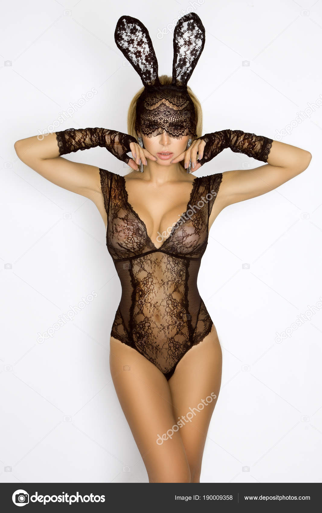 Beautiful Sexy Blonde Woman Elegant Lingerie Black Lace Easter