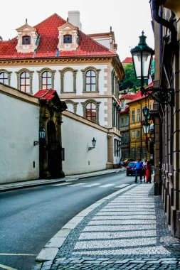 view of Prague traditional architecture, walking by city streets at daytime
