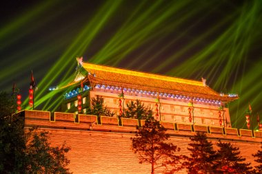 Xian City Wall night tour around ancient town. Shaanxi province, China.