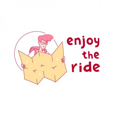 Enjoy the ride hand drawn vector phrase lettering. Hand-drawn inspired motivational inscription. Guy tourist with a backpack looks at the road on a paper map. Design element