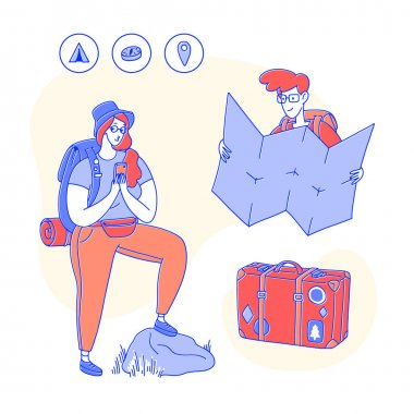 Set of design elements associated with travel. People with a backpack, cellphone, map, glasses and a suitcase with stickers. Vector line art flat illustration, minimal style.