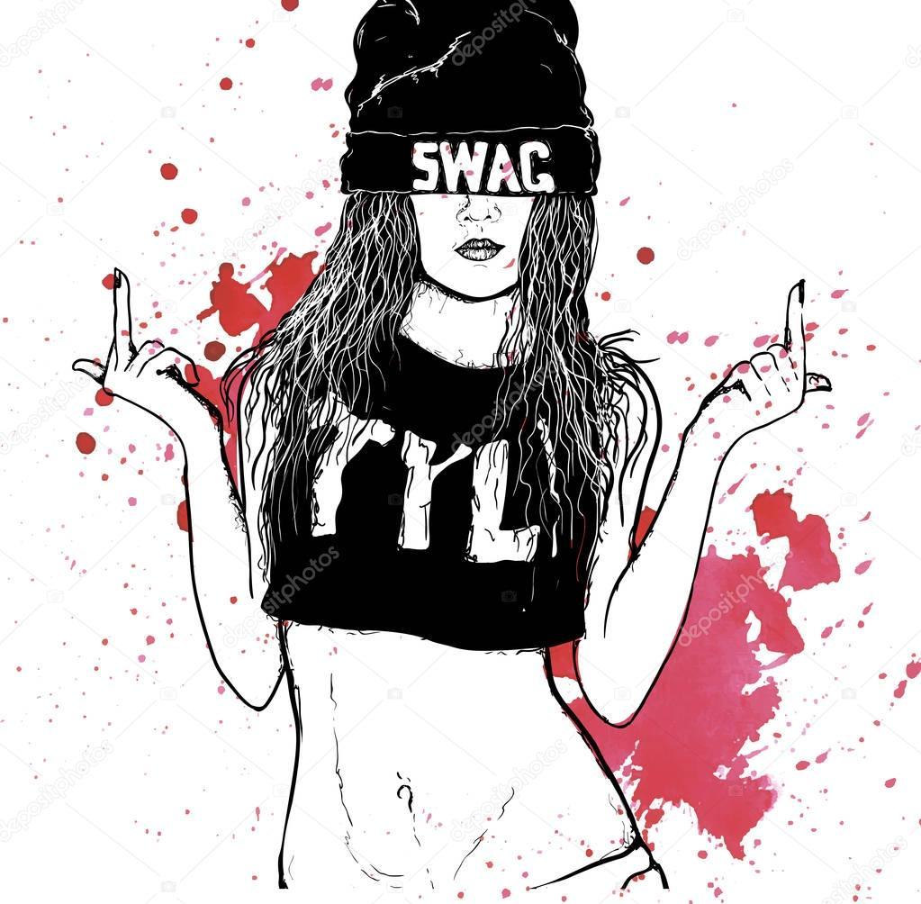 Hip Hop Swag Girl Stock Vector Lviktoria25 153064738
