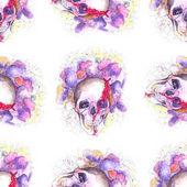 Totenkopf und Blumen
