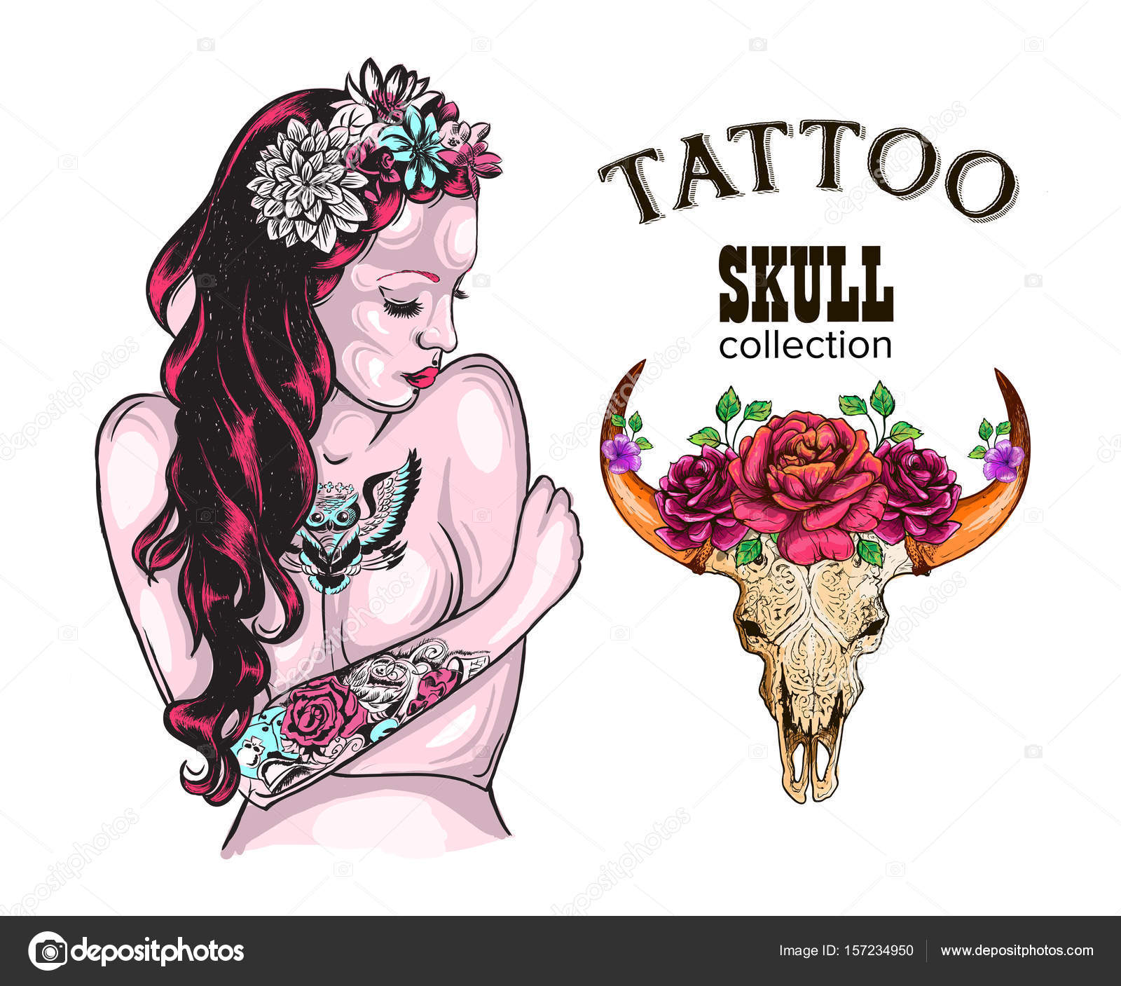 flower tattoo design shop tattooed lady skull of a cow with horns