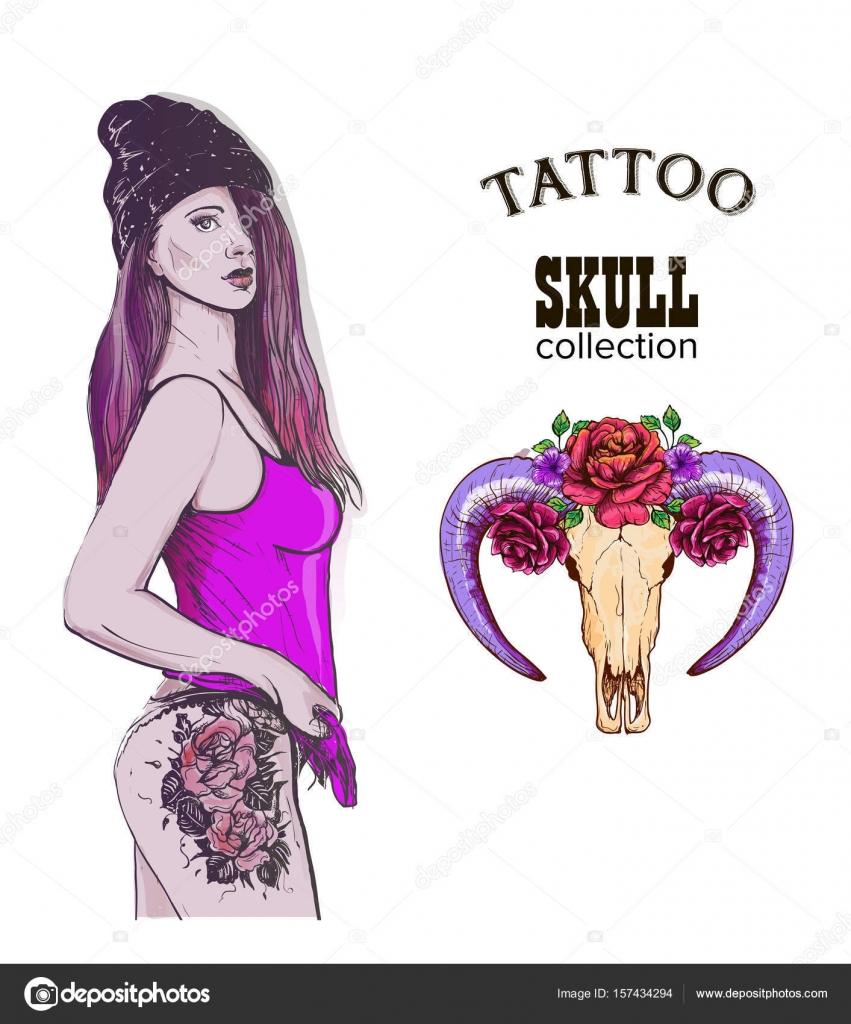 Crâne de tatto rap swag fille \u2014 Image vectorielle