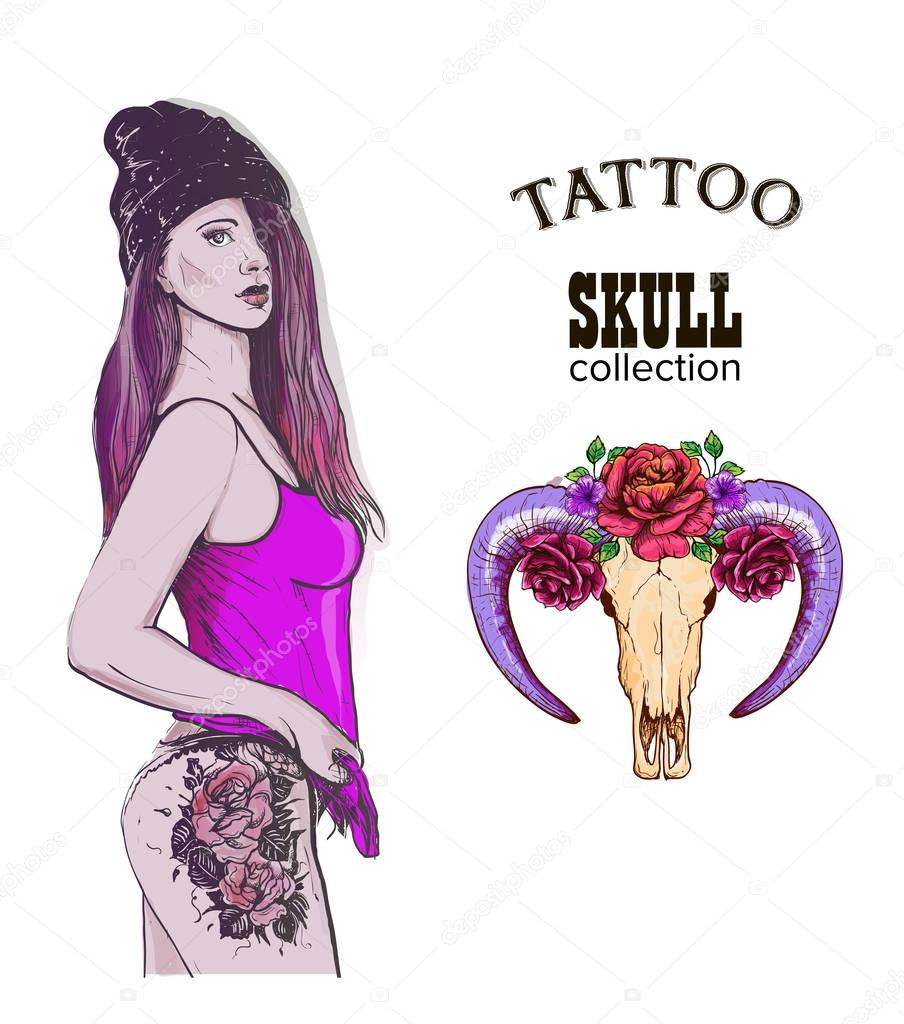 Rap swag girl tatto skull