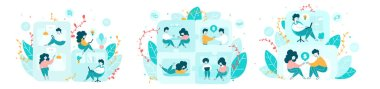 Co living arrangement flat vector illustrations set. Young men and women, coworkers sharing common apartment cartoon characters. Residential community, communal living, startup coliving concept icon