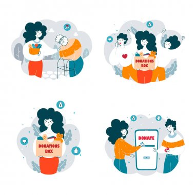 Charity organization activists at work flat vector illustrations set. Volunteers gathering goods and toys in donation box. Cartoon social worker assisting elderly man. Donating money online concept icon