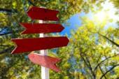 červená dřevěná směrovou šipku podepíše v pozadí zelený Les