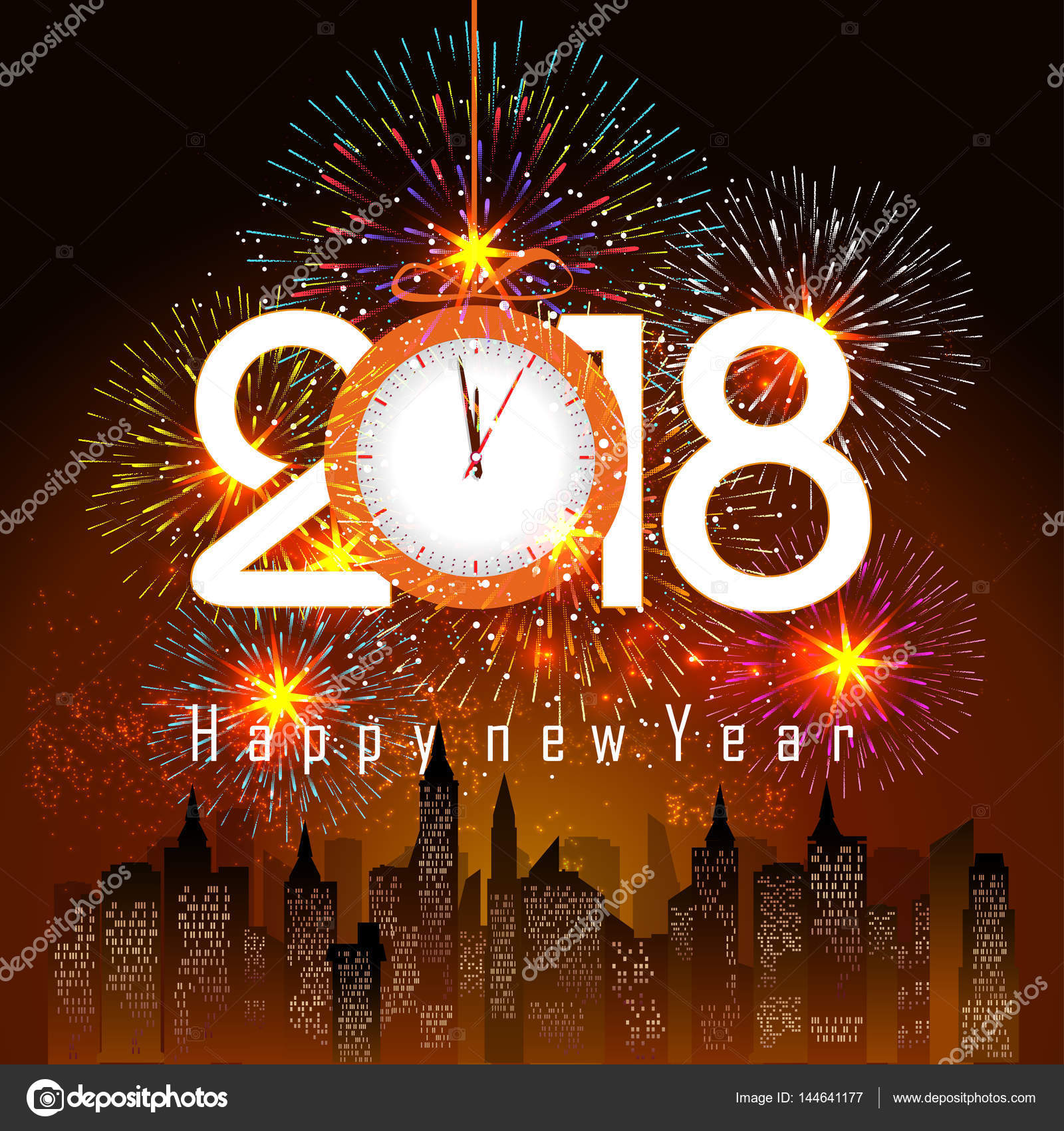 fireworks display for happy new year 2018 stock vector tieulong