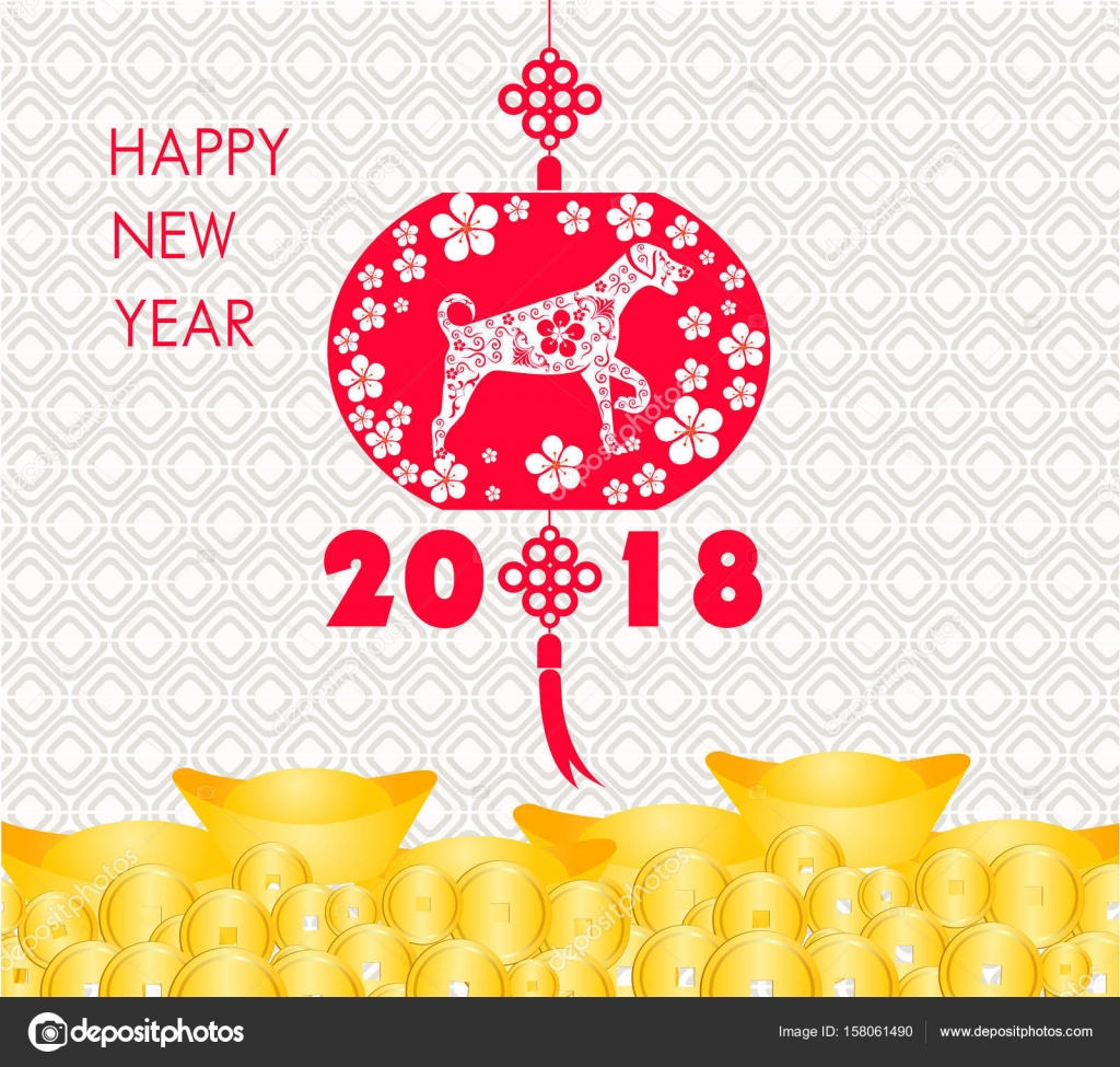 Happy Chinese New Year 2018 Karte ist Gold Münzen Geld - Jahr des ...
